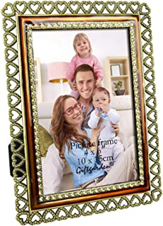Giftgarden 4x6 Picture Frame Vintage Metal Heart Photo Frame for 4x6 Inch Photograph Tabletop Display