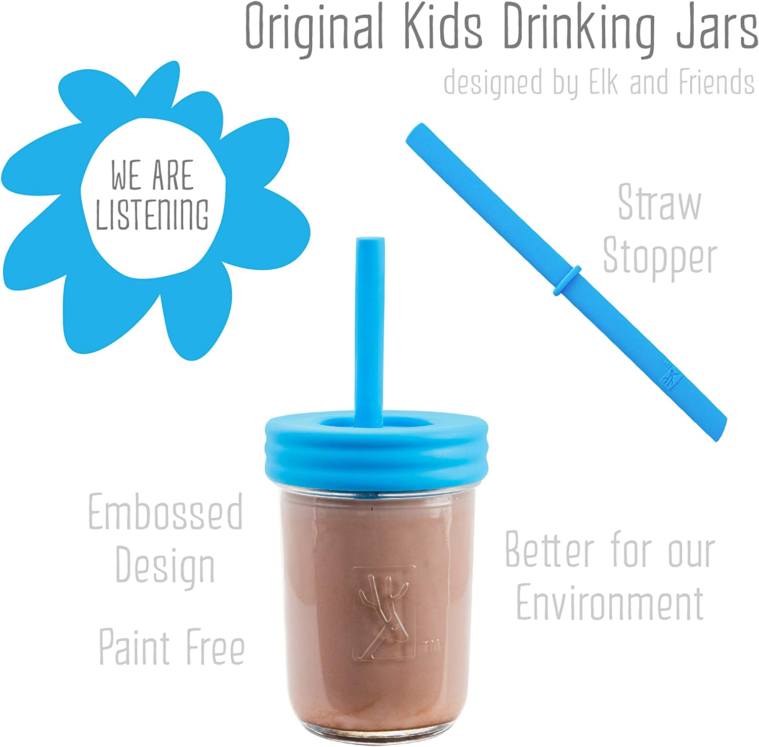 Smoothie Cups The Original Glass Mason jars 8 oz with Silicone Sleeves /& Silicone Straws with Stoppers Spill Proof Sippy Cups for Toddlers Elk and Friends Kids /& Toddler Cups