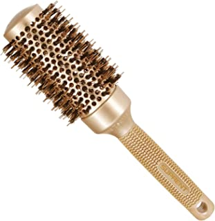 "SUPRENT Round Brush with Natural Boar Bristles,Nano Thermic Ceramic Coating& Ionic Roller Hairbrush for Blow Drying, Curling&Straightening, Volume&Shine (2.9"" & Barrel 1.7"")"