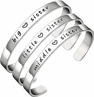 Big Sis Middle Sis Little Sis Sister Cuff Bangle Bracelet Family Friend Gift for Women Girls