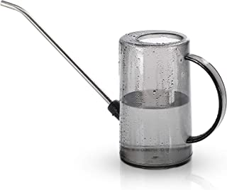 1L Plastic Watering Can Semi Clear Cylindrical Watering Pot with Tick Marks and Stainless Steel Long Spout Watering Kettle...