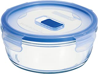Arc International Luminarc 3.8-Cup Round Pure Box Container with Lid, 6.4 by 6.4 by 2.6-Inch