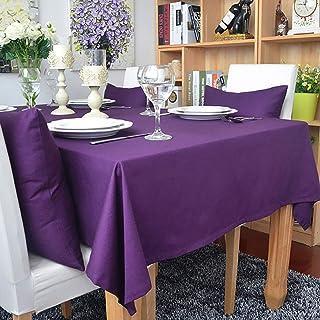 JXQ Nappe rectangulaire en coton de couleur unie - Imperméable à l'eau et à la poussière - Pour table de salle à manger de...
