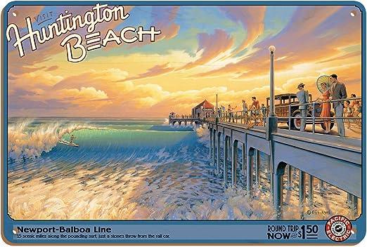Huntington Beach Pacific Electric TIN SIGN metal travel poster wall vtg art 1879