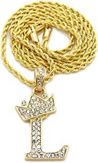 Fashion 21 Unisex Small Pave Crowned Initial Alphabet Letter Pendant 24 inches Rope Chain Necklace in Gold Silver Tone