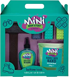 Mini Man'Stuff Bath and Body Wash Hair and Bubble Bath Christmas Gift Set For Children. Contains Toy Hammer, Bubble Bath Sand, and Novelty Soap Bricks For Children.