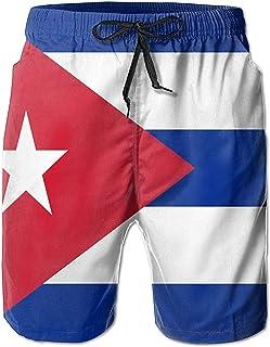Bandera de Cuba Ocio Hombres Verano Surf Bañadores de Secado rápido Pantalones Cortos de Playa Pantalones de Playa con Bol...