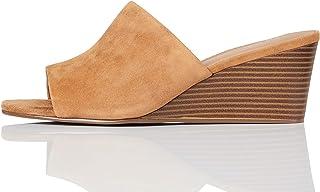 Marque Amazon - find. Mule Wedge Leather, Escarpins Bout ouvert femme