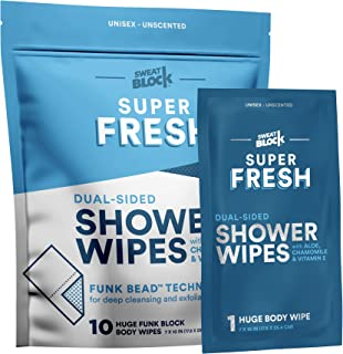 Super Fresh FunkBlock Shower Wipes - Large Body Wipes for Hygiene, Camping Wipes, Gym & Travel. No Rinse Bathing Wipes wit...