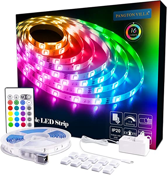 LED Strip Lights 16 4ft RGB 5050 LEDs Color Changing Kit With 24key Remote Control And Power Supply Mood Lighting Led Strips For Home Kitchen Christmas Indoor Decoration