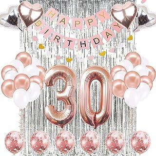 30th Birthday Decorations Banner Balloon, Happy Birthday Banner, 30th Rose Gold Number Balloons, Number 30 Birthday Balloons, 30 Years Old Birthday Decoration Supplies