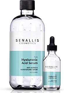 Hyaluronic Acid Serum 8 oz And 2 oz, Pure Organic Hyaluronic Acid, Anti Aging, Anti Wrinkle, Ultra Hydrating Moisturizer That Reduces Dry Skin Manufactured In USA