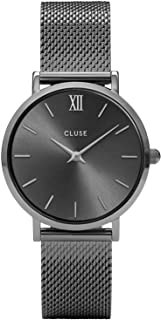 CLUSE Minuit Mesh Dark Grey CL30067 Women's Watch 33mm Stainless Steel Bracelet Minimalistic Design Casual Dress Japanese Quartz Elegant Timepiece