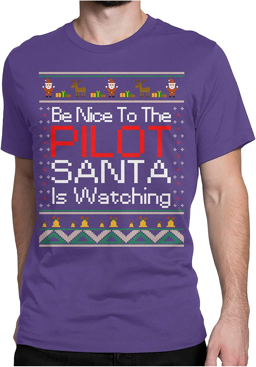 Nice to The Pilot Santa is Watching Ugly Christmas T-Shirt Funny Xmas Gift for Airplane Aviators