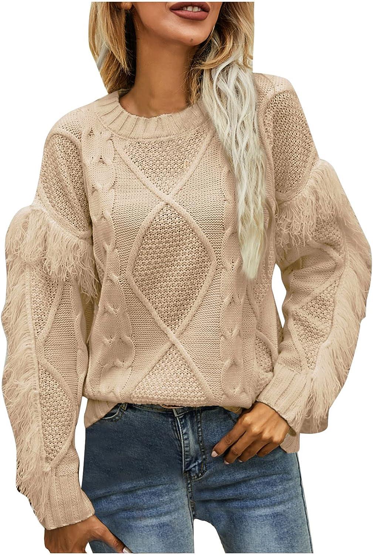 Women's Soft Fringe Long Sleeve Boho Crew Neck Sweater, Ladies Fall Winter Solid Knit Sweatshirts Pullover Tops