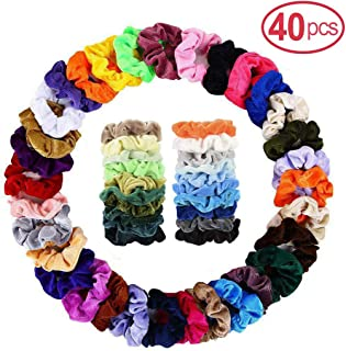 40Pcs Velvet Hair Scrunchies, Strong Hold Bobbles Velvet Hair Ties, Elastics Bands Velvet Ponytail Holder, Traceless Velvet Hair Ring, Hair Rope Accessory for Women and Girl