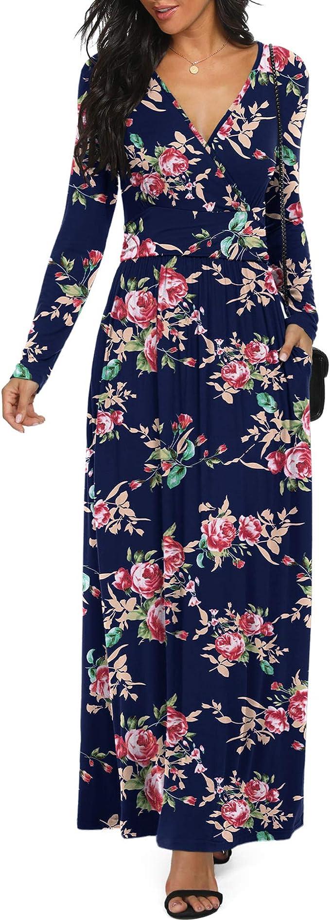 Women's Pretty Dresses for Date Night, Long Sleeve V Neck Long Floral Dresses