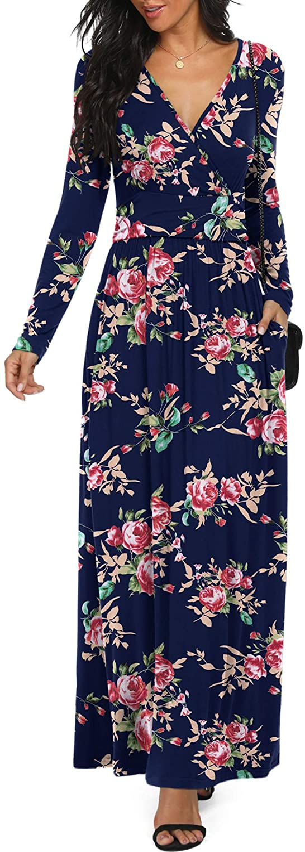 LILBETTER Women Long Sleeve Deep V Neck Loose Plain Long Maxi Casual Dress