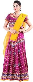 Pink Cotton Casual Women's Bhandej Lehnga