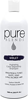 Pure Blends Hydrating Color Depositing Shampoo - Violet (White, Gray, Pale Blonde Hair) 33.8 Ounce - Salon Quality
