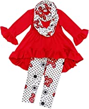 So Sydney Toddler Girls 3 Pc Hi Lo Christmas Holiday Ruffle Tunic Outfit, Scarf