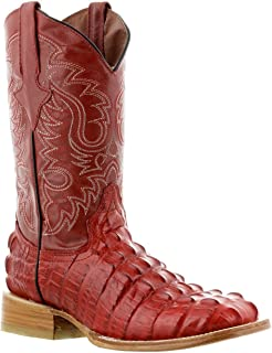 Mens Crocodile Alligator Tail Cut Leather Cowboy Western Square Toe Boots Red