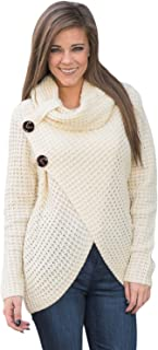 Women's Chunky Turtle Cowl Neck Wrap Long Sleeve Knit Pullover Sweater with Button Details