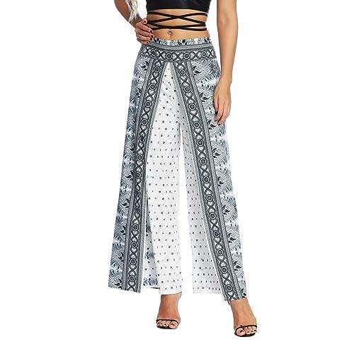 8ff5af887ad AMOMA Women Wide Leg Side Split Trousers Summer Casual Elastic Wasit Loose  Pants Indie Folk Hippy
