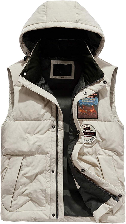 Snhpk Men's 100%Down Vest Outerwear Gilets Coat Softshell Jacket, Winter Thicken Warm Windproof Overcoat Waistcoat,Khaki,XXXL