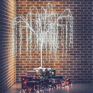 Amazing Seasons 6 Ft. Lighted Willow Tree with 500 Changing LEDs and 10 Function Remote Indoor and Outdoor Use, for Home, Wedding, Christmas, Parties and Decorations, Pure White and Multi Color