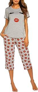 MAXMODA Women's Capri Pajama Set Printed Short Sleeve Sleepwear Pjs Sets with Pocket