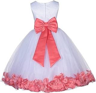 ekidsbridal White Lace Top Floral Petals Flower Girl Dresses Girl Lace 165T