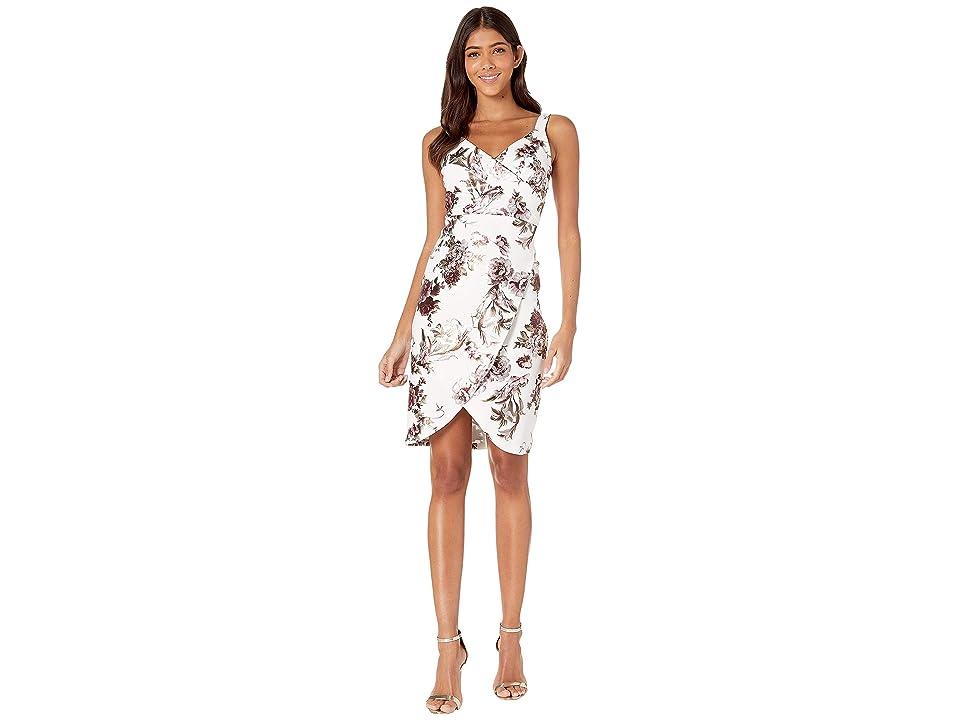 Bebe Drape Neck Print Tank Dress with Faux Wrap Skirt (Ivory/Multi) Women
