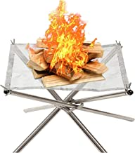 COCONUT Fire Pit Portable,Collapsible Mesh Fireplace for Outdoor Wood Burning - Perfect for Camping Patio Backyard and Garden