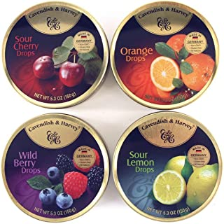4 Pack Cavendish & Harvey 4-Flavor Variety: Orange, Wild Berry, Sour Lemon and Sour Cherry Drops 5.3-ounce (150g) Tins