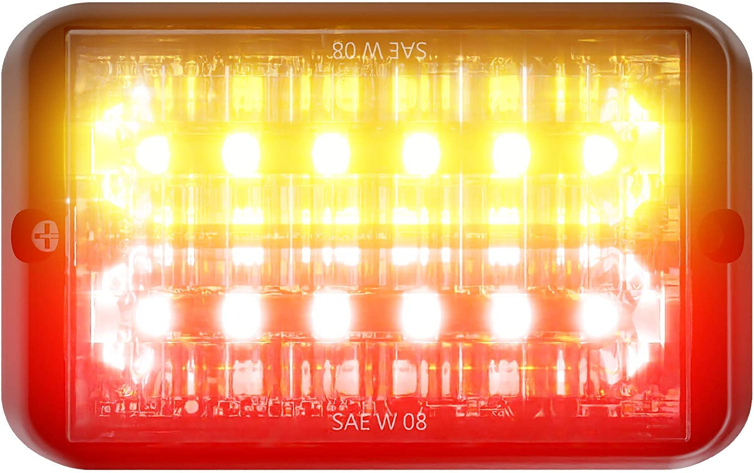 Abrams SAE Class-1 Bold 12 Amber Emergency Great interest 36W Ve LED Red Easy-to-use -