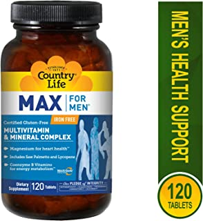 Country Life Max For Men- Multivitamin and Mineral Complex, Iron-free - 120 Tablets