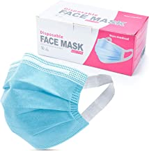 Disposable Face Masks with Elastic Ear Loop, 3 Ply Breathable and Comfortable for Blocking Dust Air Pollution Dust Protect...