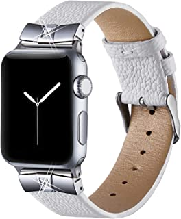 Leather Bands for Compatible Apple Watch Band 38mm 42mm 40mm 44mm Iwatch Series 5/4/3/2/1, Womens Dressy Metal Diamond Replacement Wrist Band Strap