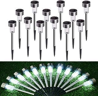 Lámpara solar LED para jardín, lámpara solar de acero inoxidable, 12 unidades, resistente al agua, bajo consumo, ideal para exteriores, terraza, césped, jardín, patios traseros, luz blanca