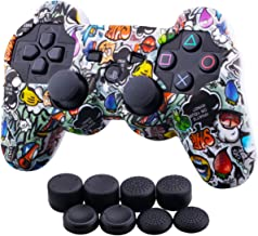 9CDeer 1 Piece of Silicone Water Transfer Protective Sleeve Case Cover Skin + 8 Thumb Grips Analog Caps for PS3 Controller, Strawberries