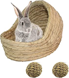 PINVNBY Woven Bunny Grass Bed Small Rabbits Natural Straw Handcrafted Hay Houses for as Guinea Pigs,Hamster,Cat,Chinchilla...