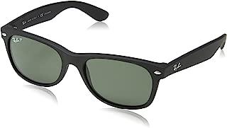 Ray-Ban RB2132 New Wayfarer Polarized Sunglasses, Black Rubber/Polarized Green, 55 mm