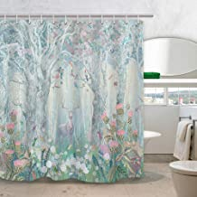 DYNH Deer Shower Curtain Safari Decor, Elk in Fanstry Forest with Flowers Birds Butterflies Dragonflies Fabric Curtains for Bathroom, 69X70 in Bath Drapes Accessories with Hooks
