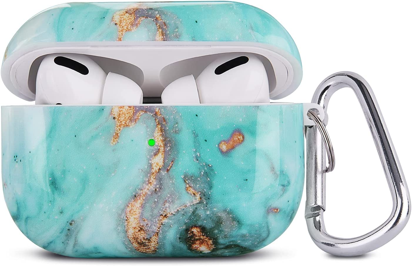 QINGQING Airpods Pro Case, 3 in 1 Cute Marble Airpod Pro Protective Hard Case Cover Shockproof Women Girls Men with Keychain Strap for Apple Airpods 3 Charging Case (Green)