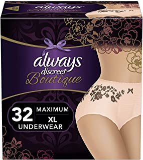 Always Discreet Boutique Incontinence & Postpartum Underwear for Women, Disposable, Maximum Protection, Peach, X-Large, 16 Count - Pack of 2 (32 Count Total)