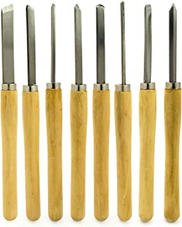 Bastex Professional Quality Wood Turning Chisel 8 pcs Set Included Lathes: 2 Skew 1 Spear..