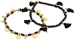 SHASHI - Set of 2 Tassel and Disc Bracelets