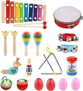 LinStyle Instrument de Musique pour Enfant, 24Pcs Instruments de Musique Enfants Set en Bois Percussion pour Bébé avec Xyl...