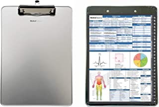 Medical Clipboard (Aluminum) with Quick Medical Reference Sheet (Flat Clip) - Clipboard for Doctors, Medical Students, Physician Assistants, and Nurse Practitioners